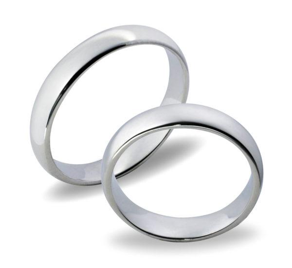 Forlovelsesringer gifteringer hvitt gull glatte  ca. 4 mm