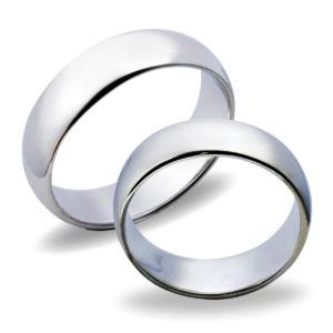 Forlovelsesringer gifteringer hvitt gull glatte ca. 6 mm