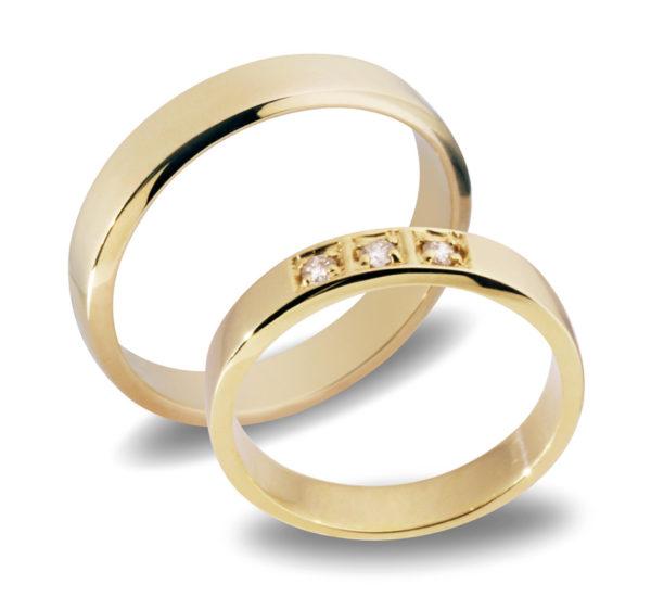 Forlovelsesringer gifteringer  gult gull 3x0,03 diamant ca. 4 mm