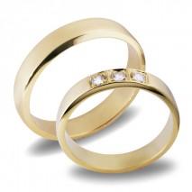 Forlovelsesringer gifteringer gult gull 3x0,05 diamant ca. 4,2 m