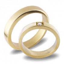 Forlovelsesringer gifteringer gult gull 1x0,08 diamant ca. 4,6 m