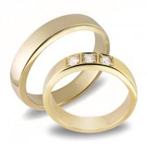 Forlovelsesringer gifteringer gult gull 3x0,08 diamant ca. 4,6 m