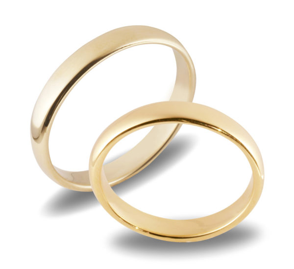 Forlovelsesringer gifteringer i gult gull glatte ca. 3mm