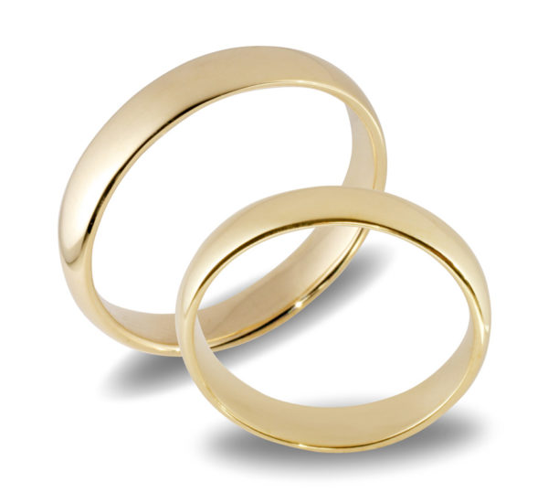 Forlovelsesringer gifteringer gult gull glatte  ca. 4 mm