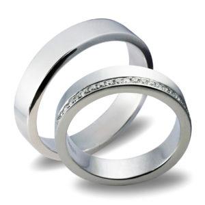 Forlovelseringer gifteringer hvitt gull 0,20 tw/si