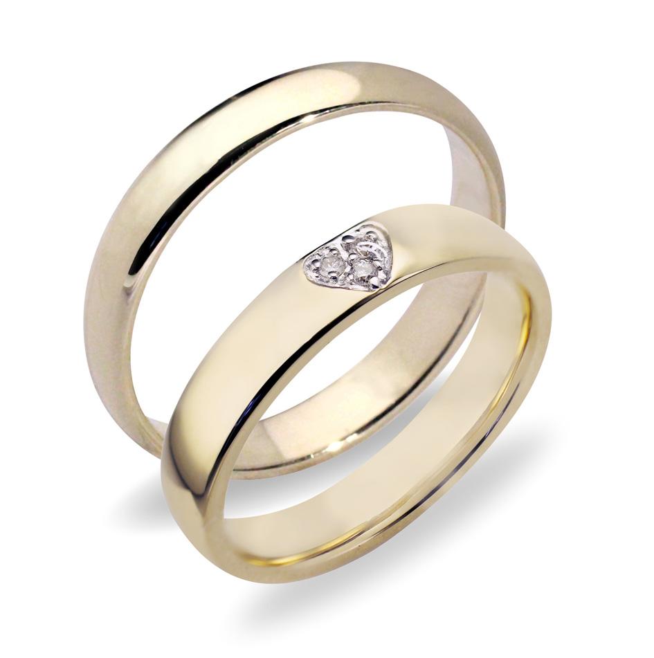 51ee3bb1 Forlovelsesringer gifteringer gult gull 3x0,01 diamant ca. 4 mm ...