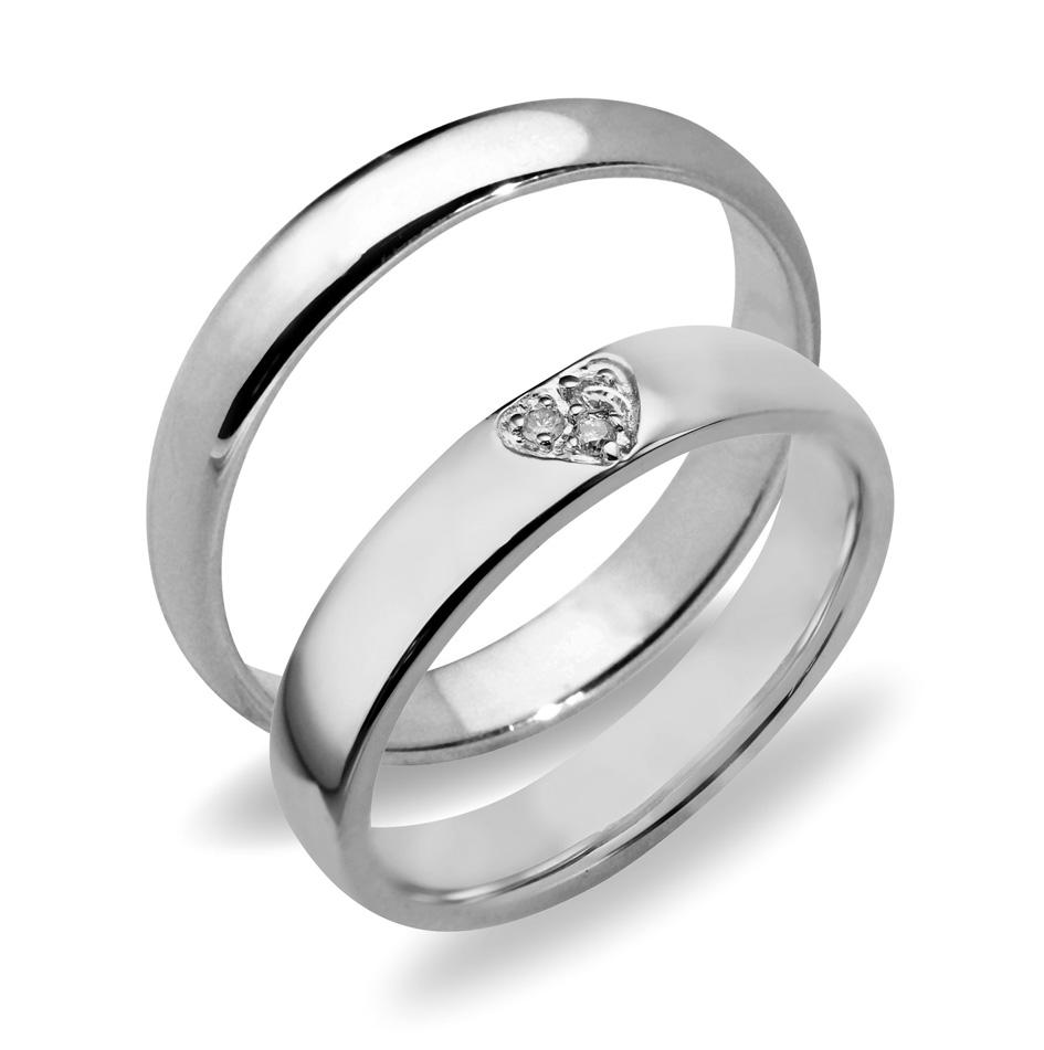 Forlovelsesringer gifteringer hvitt gull 3x0,01 diamant ca. 4 mm